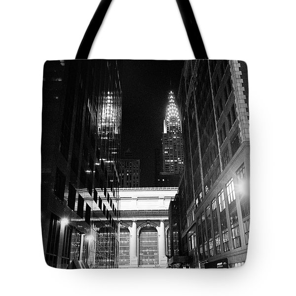 Tote Bag featuring the photograph Chrysler Night Library by Dave Beckerman