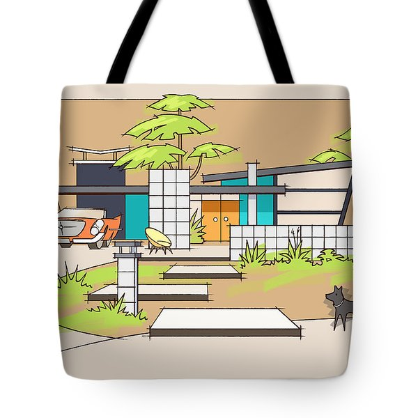 Chrysler With Black Dog, A Mid-century Home Tote Bag