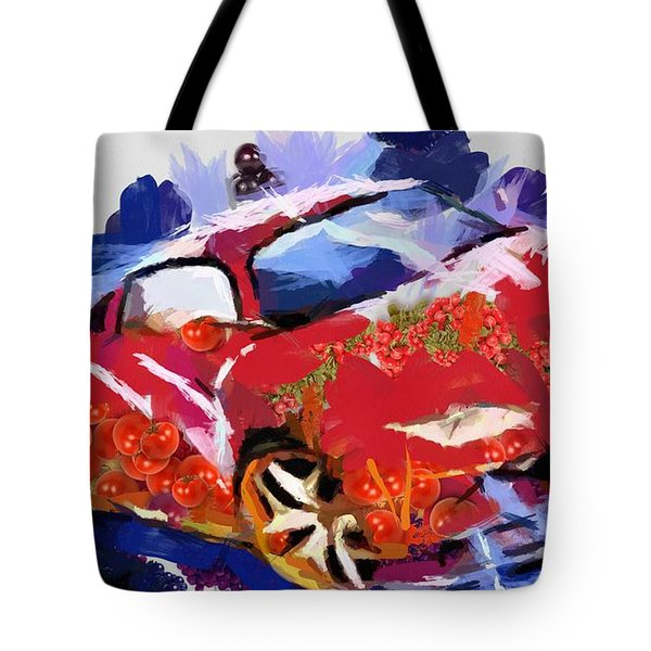 Tote Bag featuring the painting Chubby Car Red by Catherine Lott