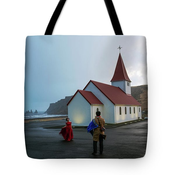 Tote Bag featuring the photograph Church Above Reynisfjara Black Sand Beach, Iceland by Dubi Roman