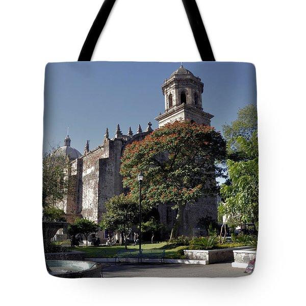 Church And Fountain Guadalajara Tote Bag by Jim Walls PhotoArtist