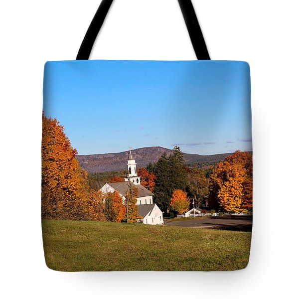 Church And Mountain Tote Bag