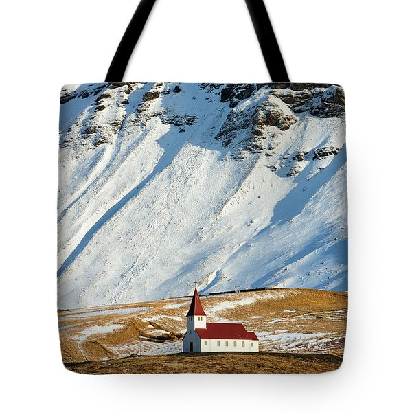 Tote Bag featuring the photograph Church And Mountains In Winter Vik Iceland by Matthias Hauser