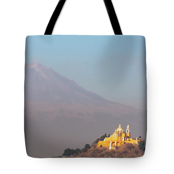 Church And Volcano Tote Bag