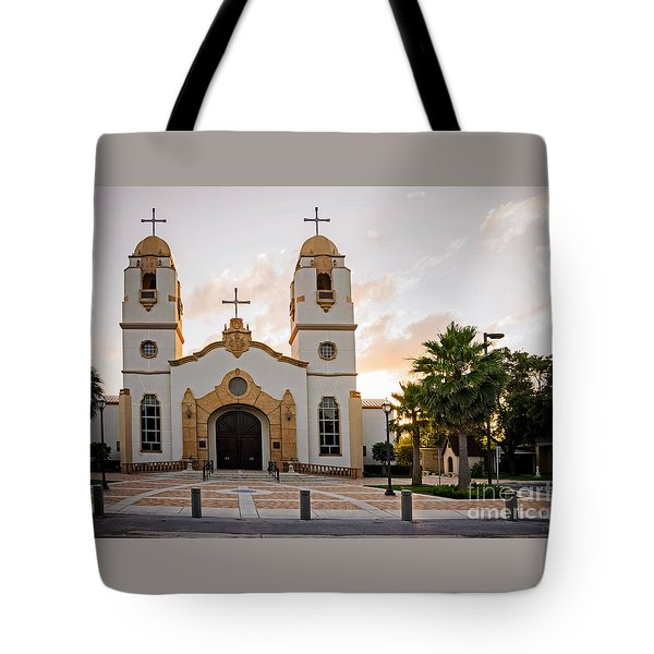 Church At Sunset Tote Bag