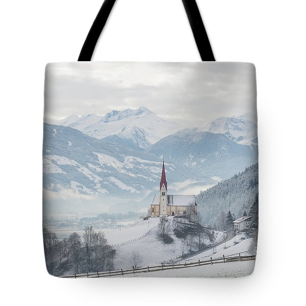Church In Alpine Zillertal Valley In Winter Tote Bag