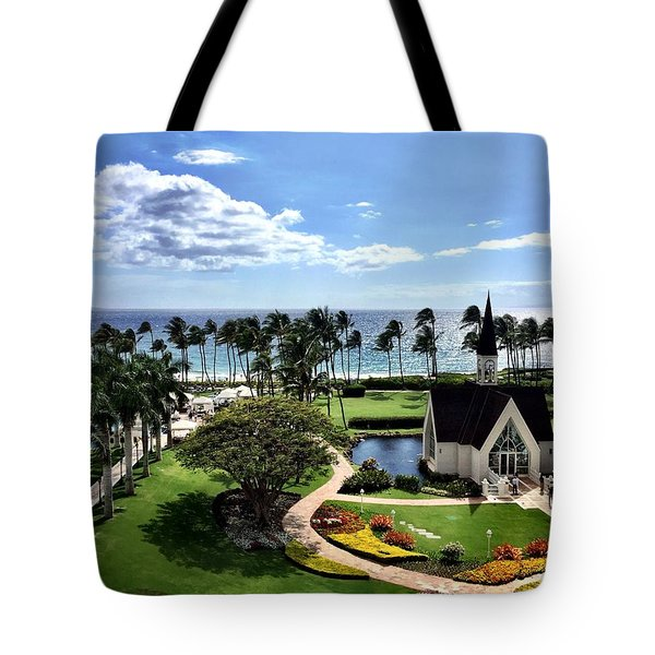 Church In Paradise Tote Bag by Michael Albright