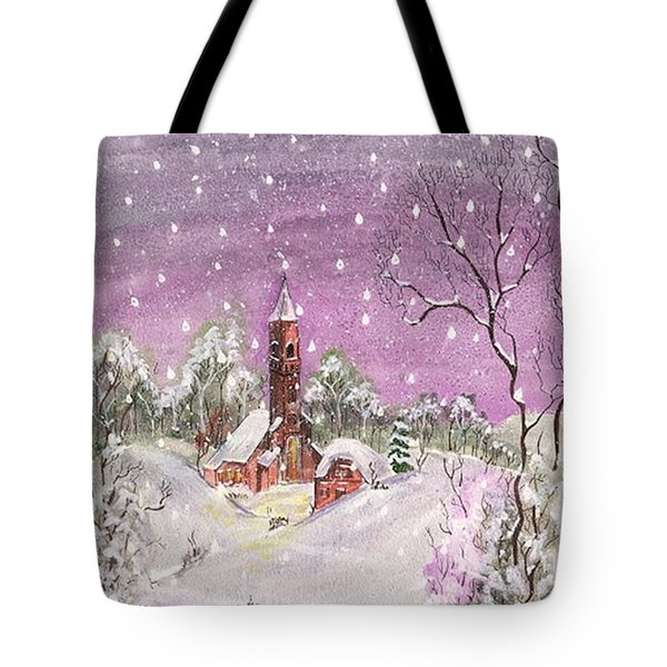 Tote Bag featuring the digital art Church In The Snow by Darren Cannell