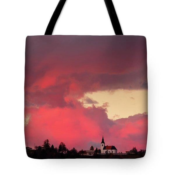 Church Of Saint Nicholas At Sunset Tote Bag