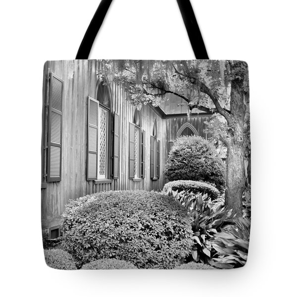 Tote Bag featuring the photograph Church Of The Cross Bluffton Sc Black And White by Lisa Wooten