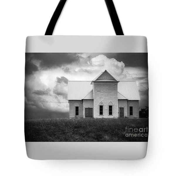 Church On Hill In Bw Tote Bag