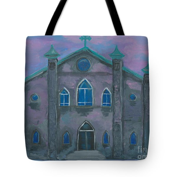 Tote Bag featuring the painting Church On The Square by Ania M Milo