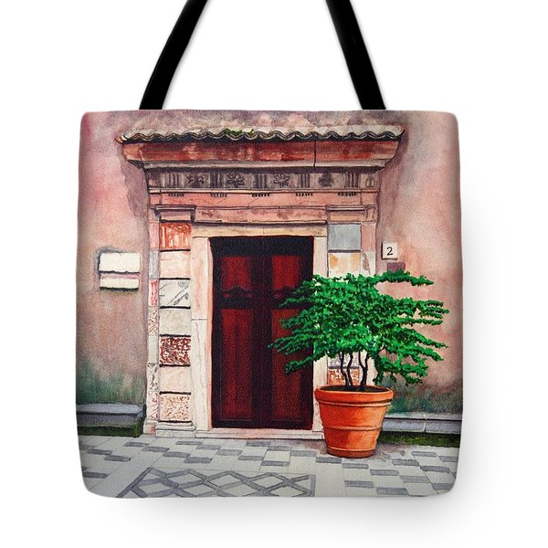 Church Side Door - Taormina Sicily Tote Bag by Mike Robles