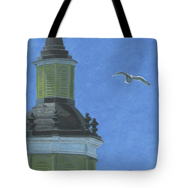 Church Steeple With Seagull Tote Bag