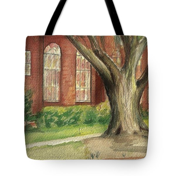 Tote Bag featuring the painting Church Tree by Denise Fulmer