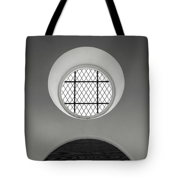 Church Window In Black And White Tote Bag