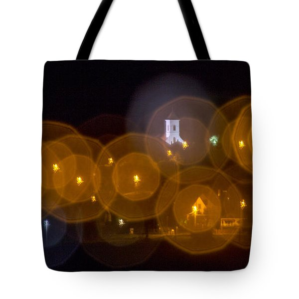 Church With Circle Bokeh Tote Bag by Odon Czintos