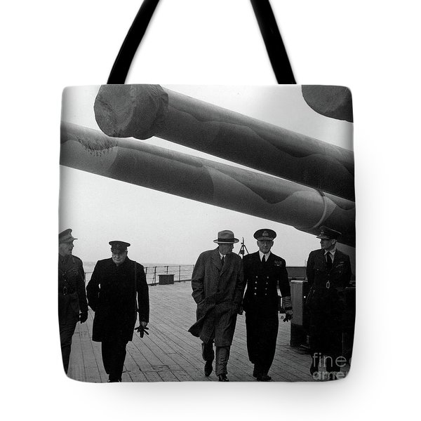 Churchill Aboard The Hms Prince Of Wales, 1941 Tote Bag