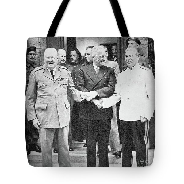Churchill, Truman And Stalin At The Potsdam Conference, July 1945 Tote Bag