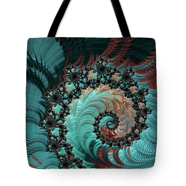 Tote Bag featuring the digital art Churning Sea Fractal by Bonnie Bruno