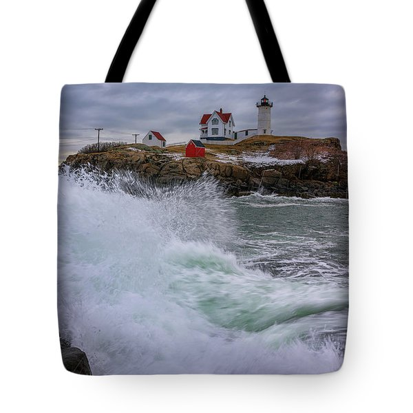 Tote Bag featuring the photograph Churning Seas At Cape Neddick by Rick Berk