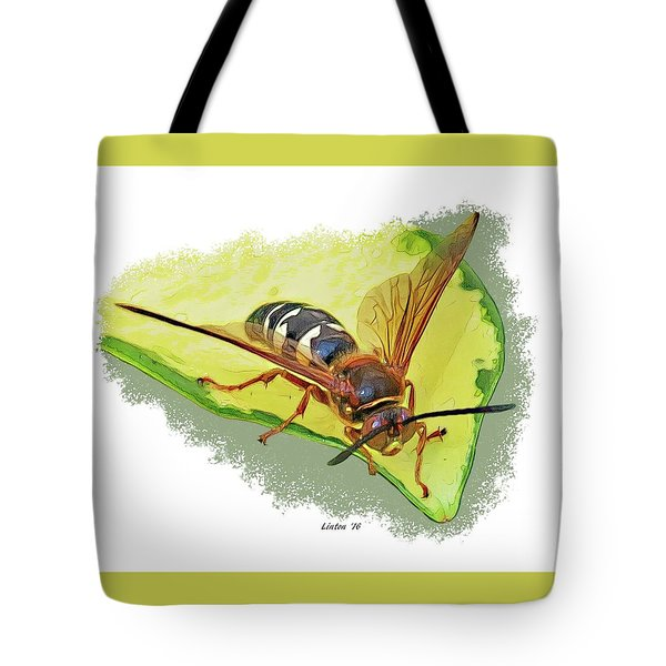 Tote Bag featuring the digital art Cicada-killer Wasp by Larry Linton