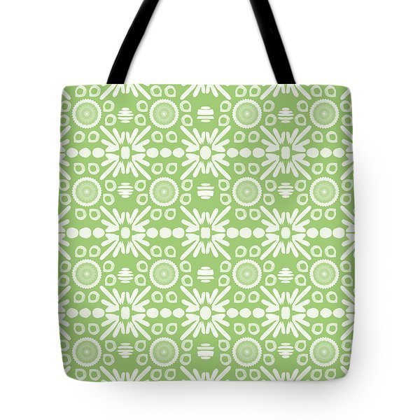 Cilantro- Green And White Art By Linda Woods Tote Bag by Linda Woods