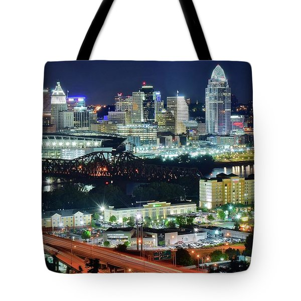 Cincinnati And Covington Collide Tote Bag