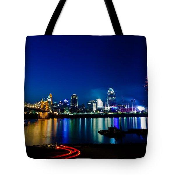 Cincinnati Boom Tote Bag by Keith Allen
