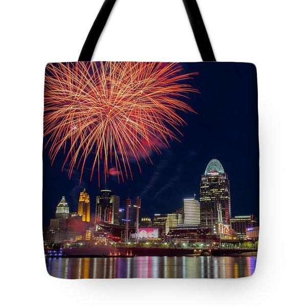 Cincinnati Fireworks Tote Bag by Scott Meyer