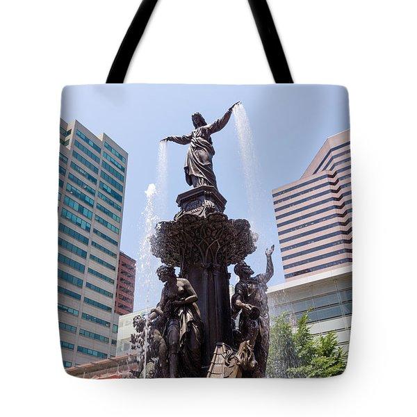 Cincinnati Fountain Tyler Davidson Genius Of Water Tote Bag by Paul Velgos