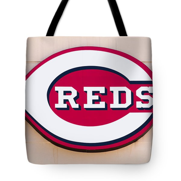 Cincinnati Reds Logo Sign Tote Bag by Paul Velgos