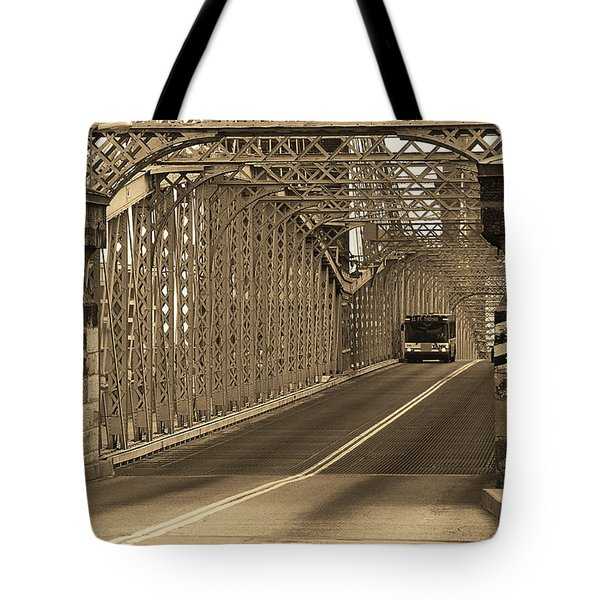 Cincinnati - Roebling Bridge 1 Sepia Tote Bag by Frank Romeo