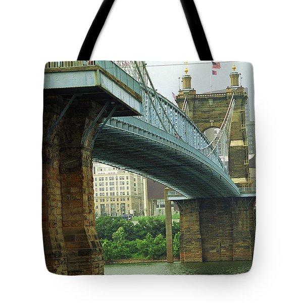 Cincinnati - Roebling Bridge 2 Tote Bag by Frank Romeo