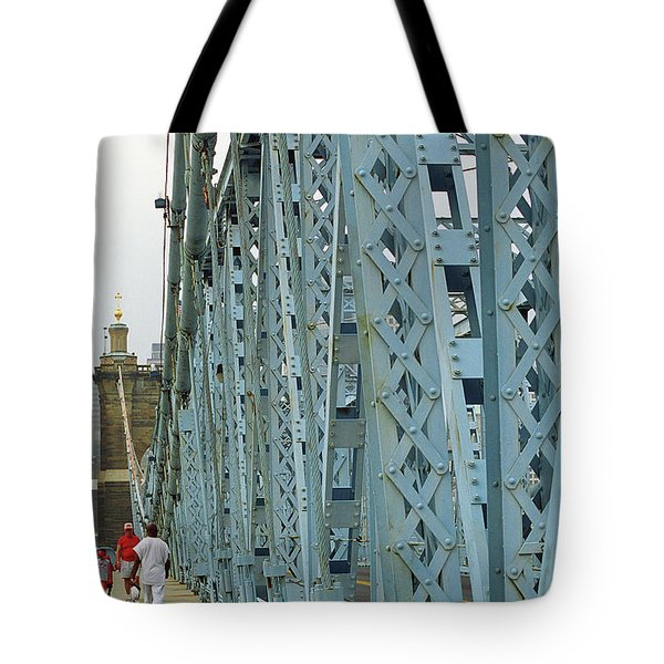 Cincinnati - Roebling Bridge 3 Tote Bag by Frank Romeo