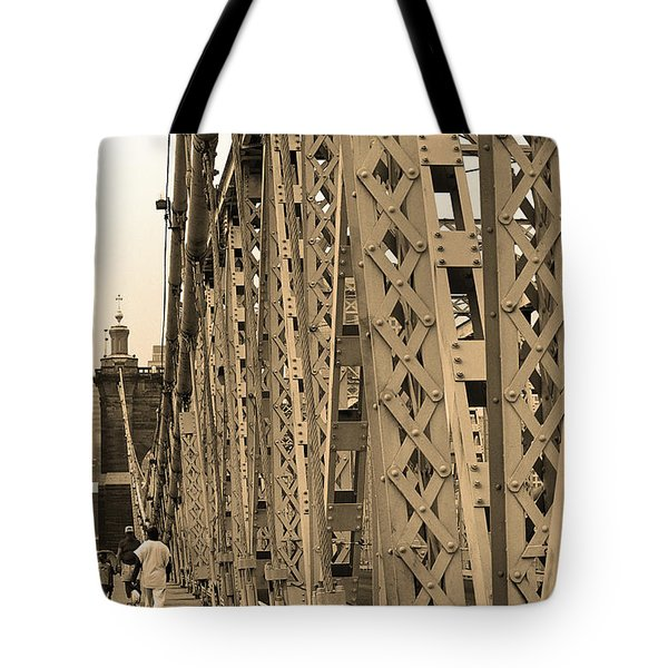 Cincinnati - Roebling Bridge 3 Sepia Tote Bag by Frank Romeo