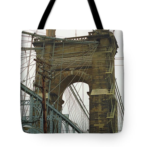 Cincinnati - Roebling Bridge 4 Tote Bag by Frank Romeo