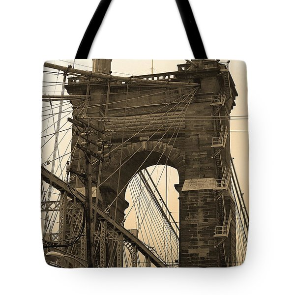 Cincinnati - Roebling Bridge 4 Sepia Tote Bag by Frank Romeo