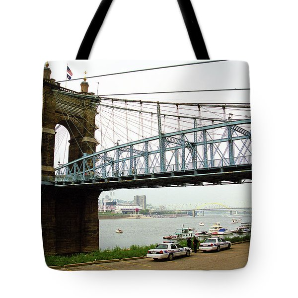Cincinnati - Roebling Bridge 5 Tote Bag by Frank Romeo