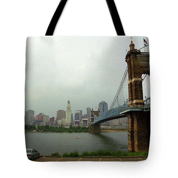 Cincinnati - Roebling Bridge 6 Tote Bag by Frank Romeo