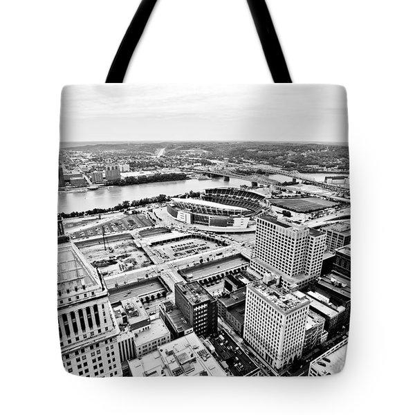 Cincinnati Skyline Aerial Tote Bag by Paul Velgos