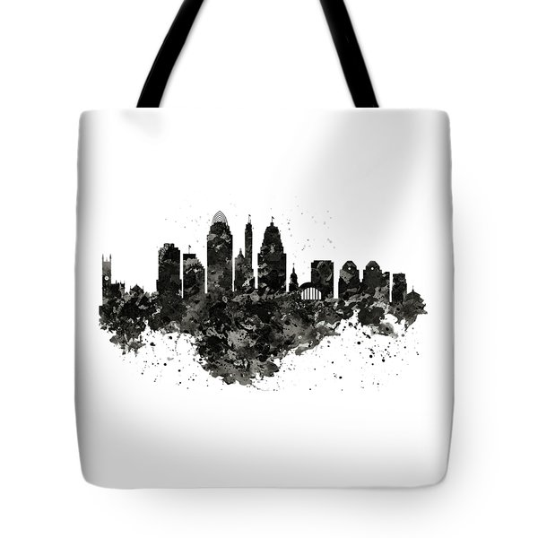 Tote Bag featuring the mixed media Cincinnati Skyline Black And White by Marian Voicu
