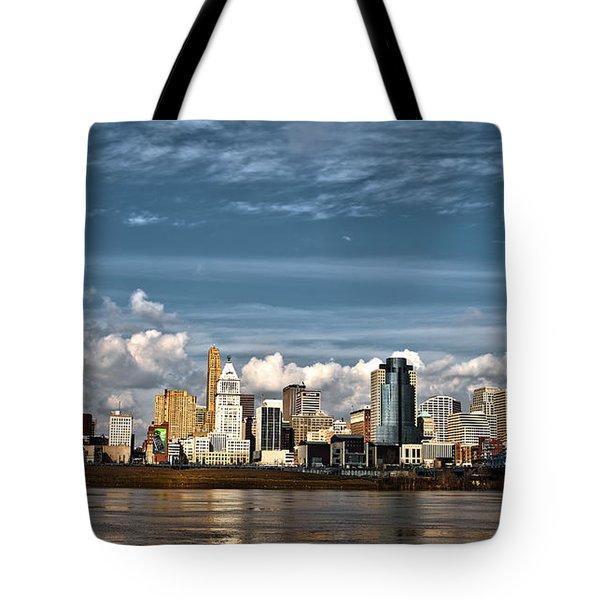 Cincinnati Skyline Hdr Tote Bag by Keith Allen