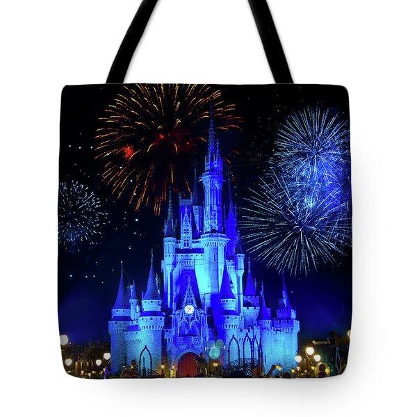 Cinderella Castle Fireworks Tote Bag