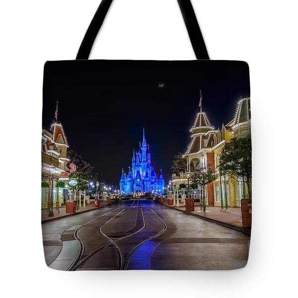 Cinderella Castle Glow Over Main Street Usa Tote Bag