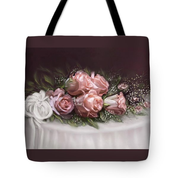 Tote Bag featuring the painting Spray Of  Roses by Bonnie Willis