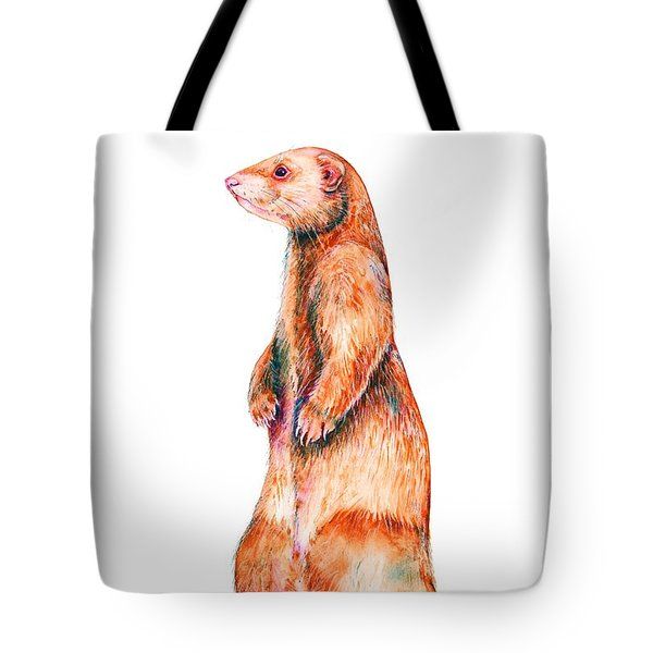 Tote Bag featuring the painting Cinnamon Ferret by Zaira Dzhaubaeva