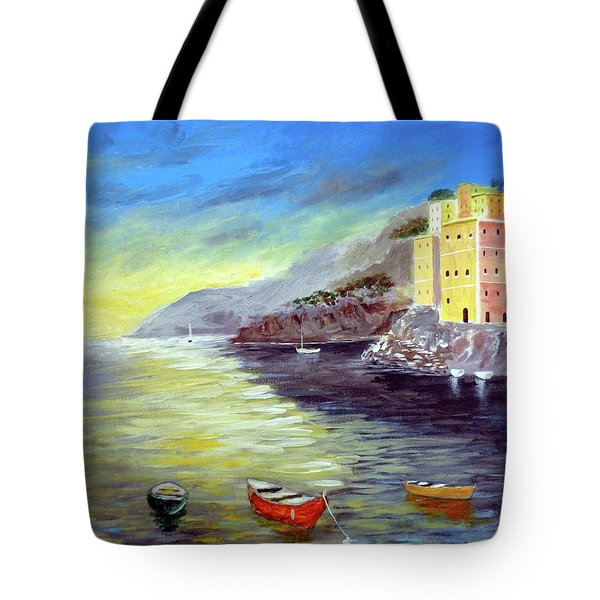 Tote Bag featuring the painting Cinque Terre Dreams by Larry Cirigliano