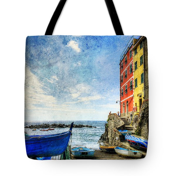 Cinque Terre - Little Port Of Riomaggiore - Vintage Version Tote Bag