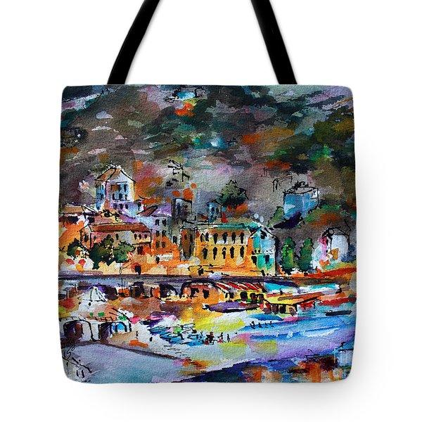 Cinque Terre Monterosso At Night Tote Bag
